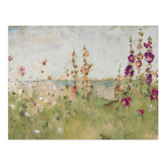 Hollyhocks por el mar tarjeta postal