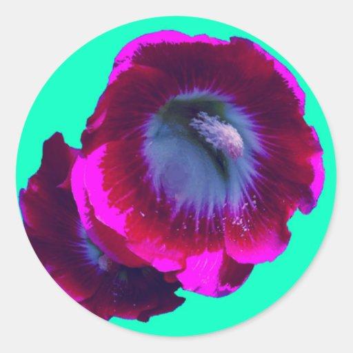 Hollyhocks Púrpura-Negros del jardín por SHARLES Etiqueta Redonda