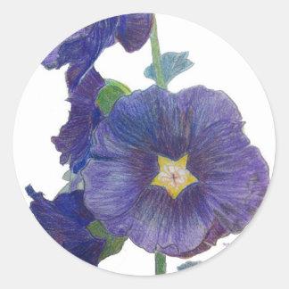 Hollyhocks púrpuras etiquetas redondas