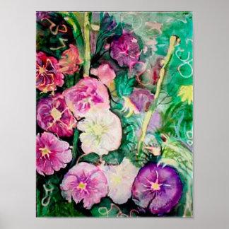 Hollyhocks púrpuras póster