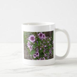 Hollyhocks púrpuras tazas