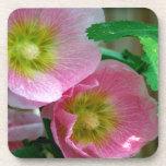 Hollyhocks rosados y amarillos posavasos de bebida