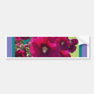 Hollyhocks with teal gifts bumper sticker