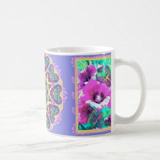 Hollyhocks y café del arte/taza eléctricos azules