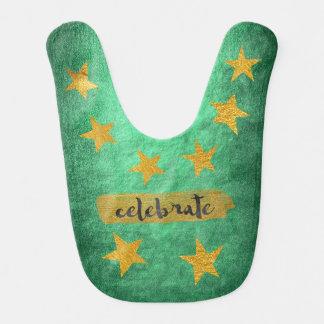 Hollywod Star Shiny Green Gold Baby Bib