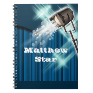 Hollywood actor stage name blue spiral notebook
