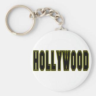 Hollywood Basic Round Button Keychain