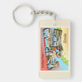 Hollywood Beach Florida FL Vintage Travel Souvenir Keychain