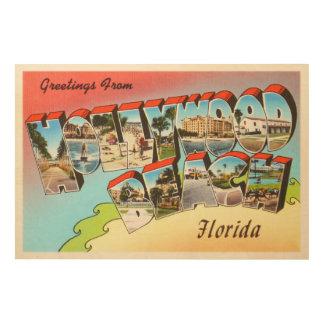 Hollywood Beach Florida FL Vintage Travel Souvenir Wood Wall Art