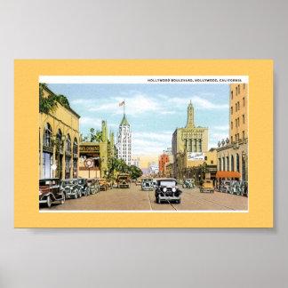Hollywood Blvd.  Vintage Postcard Print