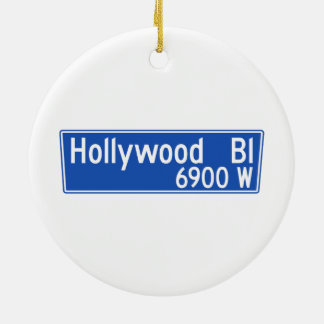 Hollywood Boulevard, Los Angeles, CA Street Sign Double-Sided Ceramic Round Christmas Ornament