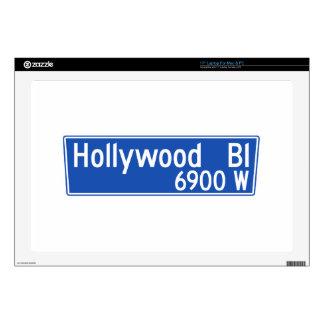 "Hollywood Boulevard, Los Angeles, CA Street Sign 17"" Laptop Skins"