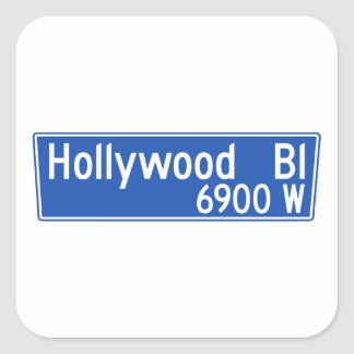 Hollywood Boulevard, Los Angeles, CA Street Sign Square Sticker