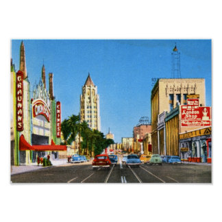 Hollywood Boulevard, vintage de Los Ángeles Póster