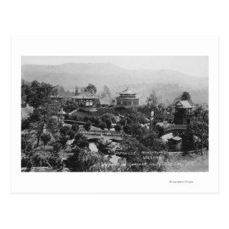 Hollywood, CA Japanese Gardens Miniature Village Postcard
