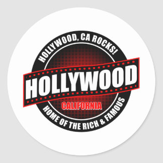 Hollywood, Ca. Rocks! Home Of The Rich & Famous Classic Round Sticker