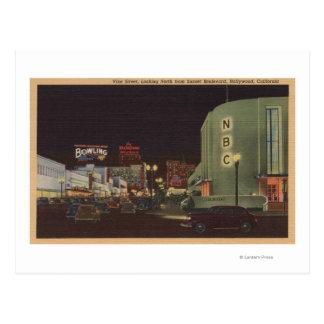 Hollywood, CA - Vine Street from Sunset Postcard