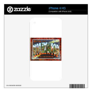 Hollywood California Vintage Travel Postcard Skin For The iPhone 4S