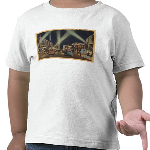 Hollywood, CANight View of Hollywood Blvd. Tshirt