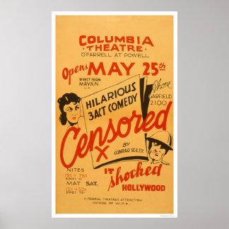 Hollywood censurado chocó WPA 1936 Poster