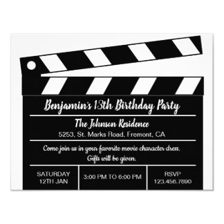 Hollywood Cinema Movie Clapper Birthday Invitation