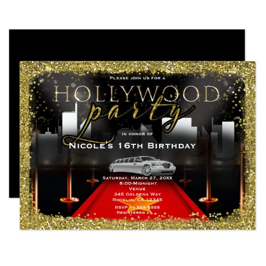 Hollywood City Limo Red Carpet Party Invitations