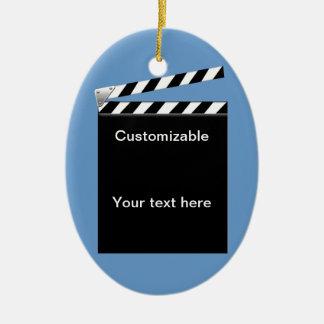 Hollywood Clapper Board Customizable Ceramic Ornament