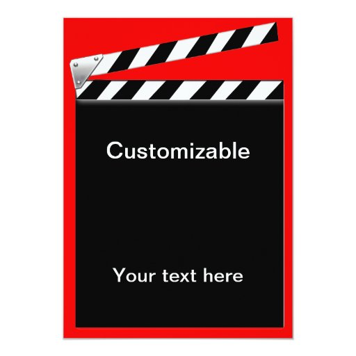 Hollywood Clapper Board Customizable 5x7 Paper Invitation Card