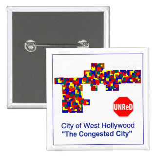 Hollywood del oeste -- El botón congestionado de Pin Cuadrado