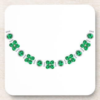 Hollywood Emerald Glamour Necklace Drink Coaster