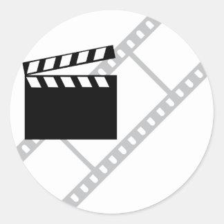hollywood film clapper classic round sticker