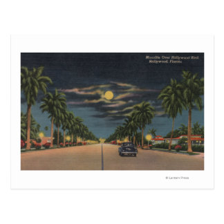 Hollywood, FL - Moonlight View over Hollywood Postcard