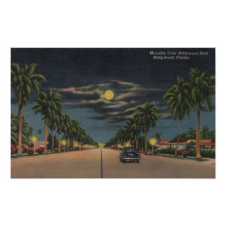 Hollywood, FL - Moonlight View over Hollywood Posters