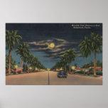 Hollywood, FL - opinión del claro de luna sobre Ho Poster