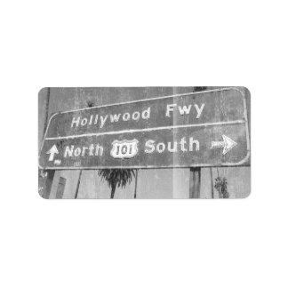 Hollywood Freeway Sign Address Label