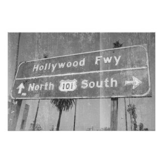 Hollywood Freeway Sign Poster