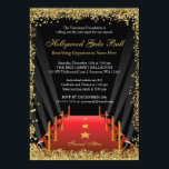 "Hollywood Gala Ball Red Carpet Glitter Invitation<br><div class=""desc"">Invite your guests in style with this classy Hollywood gala ball fundraiser invitation. Designs are flat printed graphics - NOT ACTUAL GLITTER.</div>"