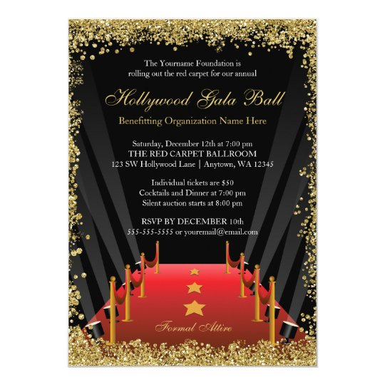 hollywood gala ball red carpet glitter invitation zazzle com