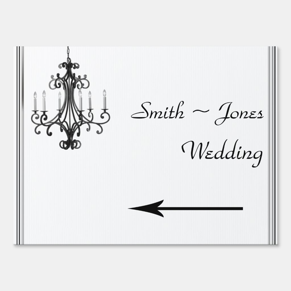 Hollywood Glamor Chandelier Wedding Direction Sign