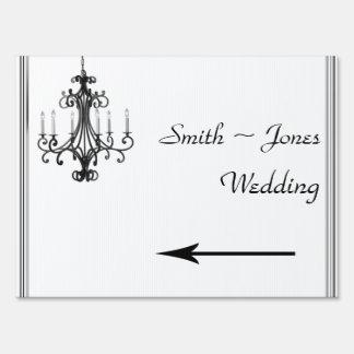 Hollywood Glamor Chandelier Wedding Direction Sign