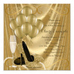 Hollywood Glamour Gold Birthday Party Card
