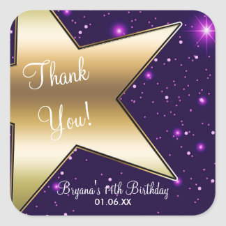 Hollywood Gold Star Purple Birthday Party Stickers