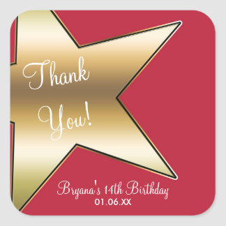 Hollywood Gold Star Red Birthday Party Stickers