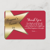 Hollywood Gold Star Red Thank You Cards