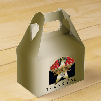 HOLLYWOOD Golden Retro Birthday Party Favor Boxes