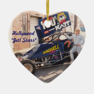 Hollywood Jett Starr with his Dirt Car Ceramic Ornament