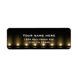 Hollywood Lights Black Address Label
