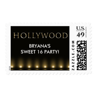 HOLLYWOOD Lights Black Gold Custom Postage Stamp
