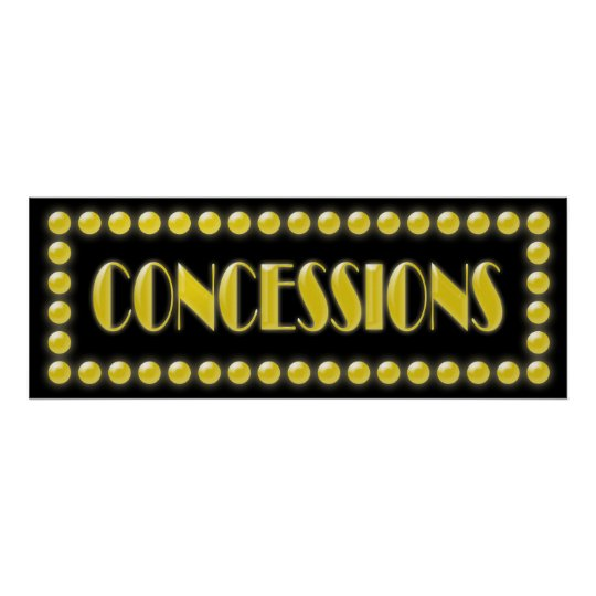 Hollywood Lights Concessions Sign Movie Party