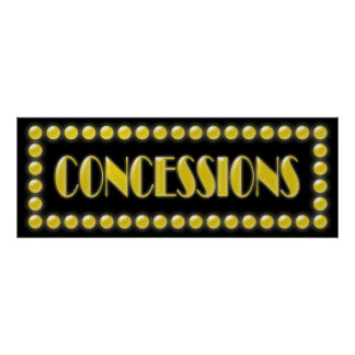 Hollywood Lights Concessions Sign Movie Party Poster